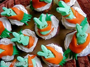 Seriously, since when did anyone think of cupcakes depicting bunny eating carrots would be great for Easter? I mean was this decorator on drugs?