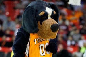 To be fair, Tennessee actually has a live mascot called Smokey IX of the same dog breed. However, this mascot seems less likely to rip your arm off than inspiring people to hug him.