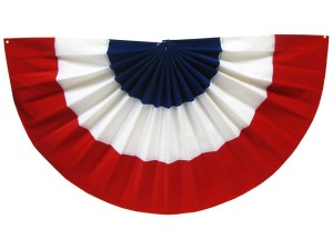 Want a patriotic decoration you can use for a podium or platform but don't want to desecrate the American flag? Use this bunting, goddammit! You can find them at any craft store.