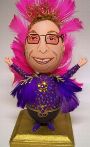 Now this is a perfect Easter egg of Elton John, costume and all with all those feathers like in his heyday during the 1970s. Of course, that will have to come to an egg.