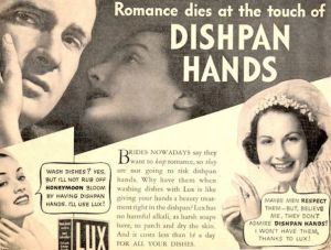 Really? I'm sure dishpan hands aren't the reason why people's marriages end. Seriously, seems like vintage ads tend to measure a relationship's health on how well the woman abides by unrealistic beauty standards.