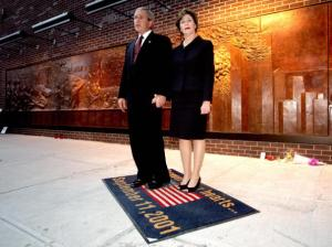 Of course, I can attach much political symbols on this picture during the 5th anniversary of 9/11. But even Mr. and Mrs. Bush should know better than to step and wipe their feet on the stars and stripes.