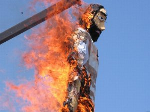 A big tradition in Catholic and Orthodox countries is Judas burning in which an effigy of Judas is tried, hanged, and burned. While it's under fire for being anti-Semitic, people also burn effigies of politicians they don't like as well.