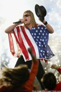 Sure we may remember Janet Jackson exposing her boob at the Super Bowl in 2004. But I also remember seeing Kid Rock wearing an American flag and clutching his crotch in one of the most disrespectful ways to treat the Stars and Stripes.
