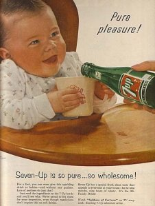 Yes, set your little one up with those empty calories that will lead to tooth decay, obesity, Type II diabetes, bone loss, anxiety, sleep deprivation, heart disease, and so much more. Yeah, this picture is a perfect example of bad parenting. I mean babies should never have soft drinks, period.