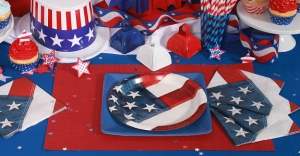 Yes, the 4th of July is a time for patriotic party supplies. But this is possibly very disrespectful to the Stars and Stripes as the Flag Code demonstrates. You might want to go with Captain America instead.