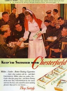Note that the nurse in the ad is actress Claudette Colbert. Still, the fact she's in a nurse's outfit freely passing out cigarettes is still kind of disconcerting since it kills about a third of its users per year.