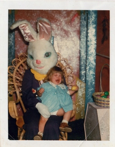 Painfully this little girl cries like there's no tomorrow as this Easter Bunny is already looking for his next victim. Those blue eyes only desire the sweet blood of children.