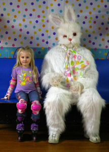 I don't like the look on that bunny's face. You can already tell he's at that roller skating rink eying at the small, slow ones.
