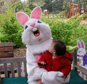 Baby Ava's parents should just scoop her up quick or else, she might end up as Peter Cottontail's next meal by the looks of it.