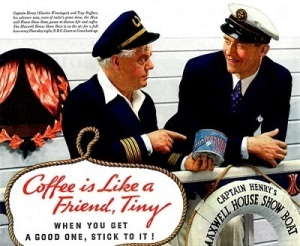 "For one, the elderly captain seems to be on the cusp of dementia. Second, ""Tiny"" is basically a name you'd hear being called in prison. Third, seems that these guys are discussing coffee with the same seriousness as brain cancer. The captain must be losing it and the other guy feels like he needs to research maritime law and riverboat murder."