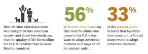 Here is a screenshot I took from a Muslim American infographic survey from the Pew Research Center. This pertains to how American Muslims view the US compared to what the general public thinks of them.