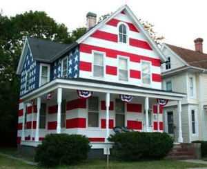 If something has the likeness of an American flag to an observer, then it should be seen as an American flag. Since this house is painted as an American flag, it's basically disrespect.