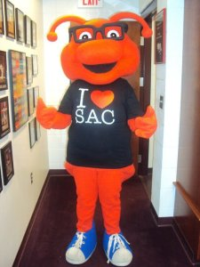 Basically he's the mascot of the college's Student Activities Council. Still, he looks more like Skeeter and Scooter's burned out brother with antennas than anything.