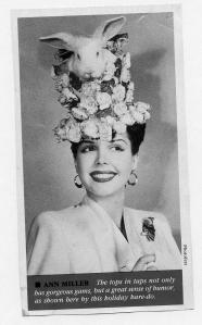 Of course, Ann Miller can have this kind of hat who was kind of the Lady Gaga of her day as far as fashions go. Then again, this style makes any of Lady Gaga's Easter bonnets seem tame by comparison.