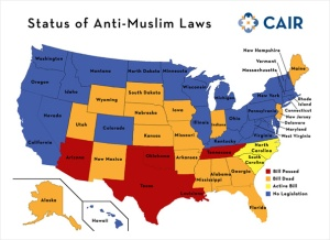 This map from the Center of American Islamic Relations or (CAIR) that depicts the status of Anti-Muslim legislation in 2011. By this time 5 states have passed Anti-Muslim legislation while bills were active in the Carolinas.