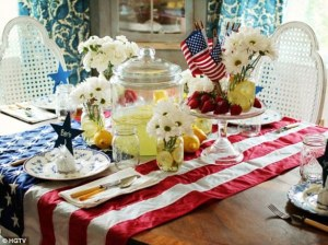Apparently somebody at the Homes and Gardens channel thought an American flag would make the perfect patriotic table spread. What it really is unpatriotic disrespect.