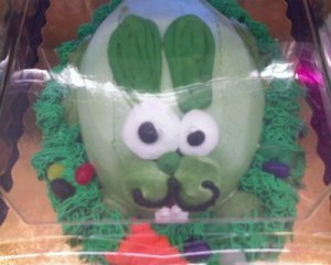 Is it just me or do green Easter Bunny cakes just seem disgusting to you? Well, it does to me and I don't think this bunny's thoughts are all that innocent.