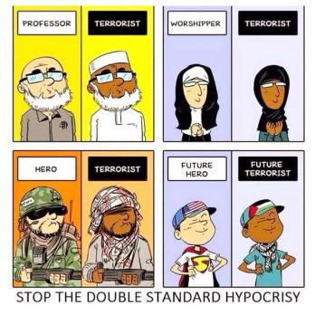 This is a handy cartoon of how Islamophobia affects people's perception of Muslims. Here we have a Muslim in the same pose as a white person in similar garb. But they are seen as totally different things.