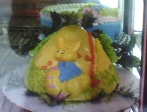 Hate to imagine what that bunny is doing to that egg. Nevertheless, why use a volcano cake for Easter? Oh, it's supposed to be an egg, but I'm not sure if I can believe that.