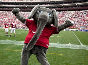 Now the Crimson Tide is actually a nice team nickname for a college, especially one like Alabama. However, why the school thought they needed a dopey elephant as their mascot, I have no idea. Seriously, elephants aren't crimson and don't even live in Alabama. And this guy seems more appropriate for a children's book.