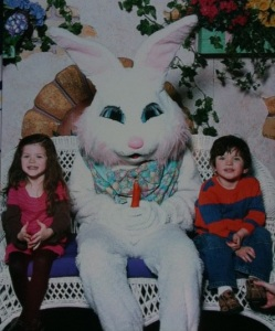 This Easter Bunny seems so happy but not in a good way. Seems to enjoy the smell of sweet innocents in the morning.