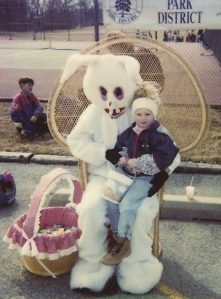 I know it's supposed to be a rabbit but it seems that this Easter Bunny seems A. on meth, B. has a day job as a franchise horror movie villain, C. has had his Easter Bunny costume made by someone who thinks he's some burned out rabbit drug fiend, or D. all of the above.