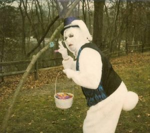 If you see an Easter Bunny that looks like this on your lawn, you might want to call the cops in your area. Seriously, do it before he steals something.