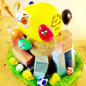 Even better is that these Angry Birds are made from Easter eggs as far as I can tell. Seriously, this is a better than colored eggs. At least for boys.