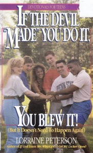Yes, this is a teen devotional with it's cheesy mandatory diversity photo from the 1980s. However, I suggest a picture of the temptation of Faust by Mephistopheles would be far more appropriate than this.