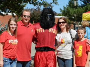Now despite the name, this is a Kansas school. However, a mascot that has a guy in a gorilla suit may be intimidating but is very hard to take seriously. Doesn't seem too happy in this picture and his shirt is too small.