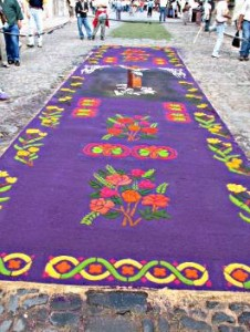 In Guatemala, the village streets are lined with rugs made from saw dust for the Easter procession which creates trail of powdery rainbows in their wake.