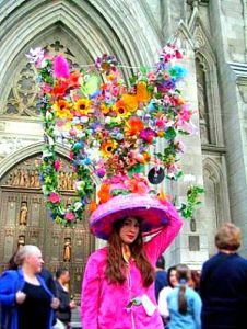 She should be lucky that most churches have rather high ceilings in their naves. But seriously, that's a lot of flowers and eggs.