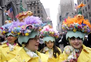 New York's Easter parade from 5th Avenue to 57th Street has a lot of fun festivities with people wearing outlandish Easter outfits and donning their wackiest Easter bonnets.