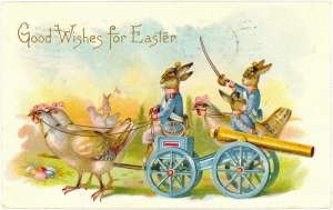 Seriously, what's with all this Easter motifs with battle implements? It's like having a card with a picture of a commando Easter Bunny in camo carrying an AK-47! I mean, why?