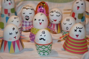 Now this person seems to spend more time decorating the eggs' outfits than the actual eggs themselves.