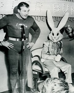 Of course, what makes this even more cringe worthy is that George Reeves actually died of a gunshot wound under some mysterious circumstances. But I'm surprised why the Easter Bunny was never a murder suspect.