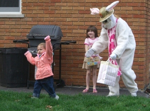 Man, I don't know about you but this Easter Bunny seems like a very bad role model by the looks of it. Please don't trust him with your kids.
