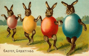 Who knew that old fashioned card artists could make bunnies and eggs so terrifying. Could possibly serve as an inspiration for a Donnie Darko poster.