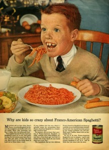From the creepy look on this ginger freckled boy's face, it could be just about anything. Also, why does he have hotdogs beside him? Seriously, why?