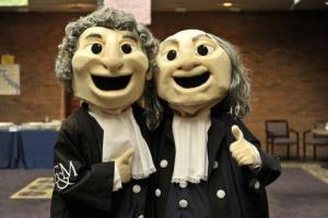 These two remind me less of Benjamin Franklin and John Marshall and more like a younger but creepier Colonial American Statler and Waldorf. Their eyes reveal they are dead inside and hungry for your soul.