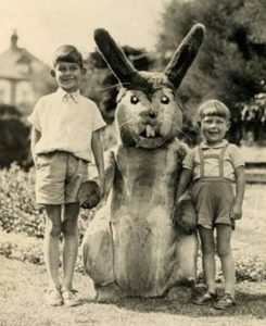 Man, and you thought today's costumed Easter Bunnies were horrifying. I mean just look at its souless eyes and long gnashing teeth.