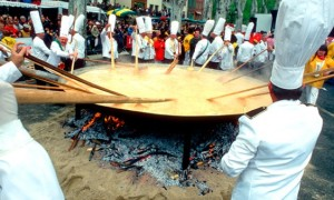 Every Easter in Haux, the villagers gather all their eggs to put in a large frying pan in the square. The result is perhaps the world's largest omelet.