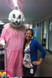 Man, this bunny is just creepy as hell. Bet the woman is just smiling because she's being promised a raise. Yet, this one is guaranteed to devour your soul if you don't get back to work.