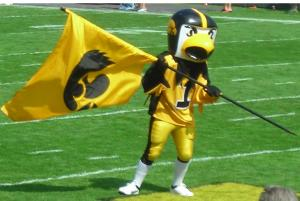 Now Herky is a fine menacing hawk as a mascot. However, I think the helmet is just a bit too much so to speak. I don't know.