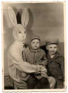 Man, had no idea that homemade paper masks can be so terrifying, especially for a rabbit costume. I wonder what became of those kids.