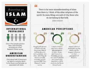 This infographic from Religion Link reports that though Islam is practiced worldwide by 1 in 5 people, most Americans know nothing or little about it. The fact many Americans don't know much about Islam is a main driver in Islamophobia.