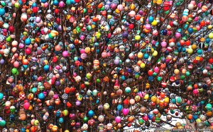 Instead of hiding their colored eggs, the Germans hang their decorated eggs out in the open on trees for all to see. Seems like the Germans have to have trees for everything.