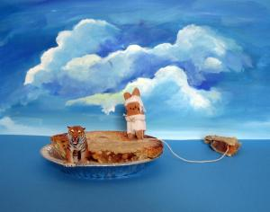 I like how on this Life of Pi diorama, the raft is an actual pie.