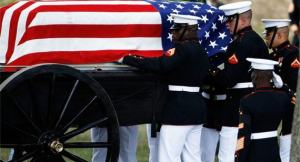 The only acceptable time when an American flag can be draped is on a coffin during a funeral for a serviceman, public official of high standing, or first responders, especially if killed in the line of duty.